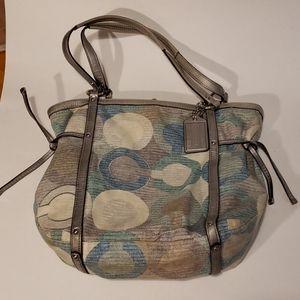 Coach audrey cloth shoulder bag silver blue